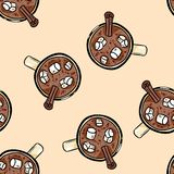Cacao hot chocolate with marshmallow cute cartoon seamless pattern royalty free illustration