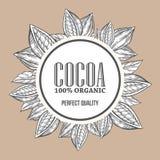 Cacao, illustrazione disegnata a mano di vettore di botanica della corona della mano del cacao Fotografie Stock Libere da Diritti
