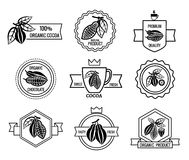 Cacao logo and chocolate labels set Stock Images