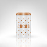 Cacao metal can Stock Photography