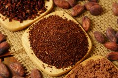 Cacao nibs, cacao powder and cocoa beans on burlap royalty free stock images
