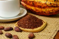Cacao nibs near white cup, raw cocoa fruit, cacao beans. On burlap Stock Images