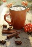Cacao o taza del café con las melcochas sabrosas, rama de árbol de abeto con las bayas rojas del árbol de serbal Todavía vida en  Fotos de archivo libres de regalías