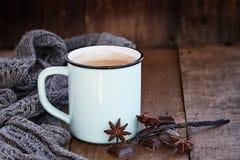 Cacao ou café chaud avec du chocolat et des épices photo stock