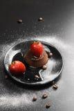 Cacao panna cotta Stock Photos