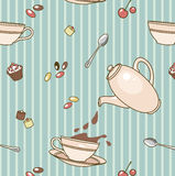 Cacao-pattern. Seamless vector pattern with coffeepot,  cups  and  sweets on striped tablecloth Stock Photography