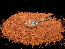 Cacao in polvere con il cucchiaino da tè Fotografia Stock
