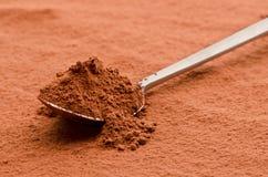 Cacao in polvere su un cucchiaio fotografia stock