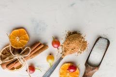 Cacao in polvere in un cucchiaio con cannella e il sitrus asciutto Un'alta chiave Immagine Stock Libera da Diritti