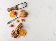 Cacao in polvere in un cucchiaio con cannella e il sitrus asciutto Un'alta chiave Immagine Stock