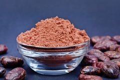 Cacao powder in a bowl on blue background stock images