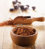 Cacao powder in a bowl. royalty free stock photos