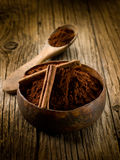 Cacao powder with cinnamon Royalty Free Stock Photos