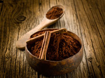 Cacao powder with cinnamon Royalty Free Stock Photography