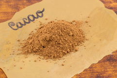 Cacao powder on labeled cooking paper Stock Images
