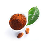 Cacao powder, leaf and cacao beans Stock Image