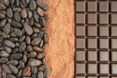 Cacao y chocolate Imagen de archivo libre de regalías