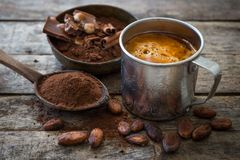 Cacao y chocolate caliente imágenes de archivo libres de regalías