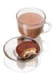 Cacao y galletas en chocolate Foto de archivo libre de regalías