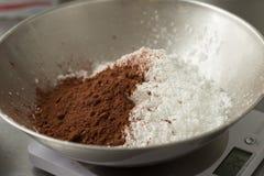 Cacao y harina Imágenes de archivo libres de regalías