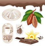 Cacaobonen en chocolade Stock Fotografie