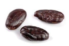 Cacaoboon op witte macro wordt geïsoleerd die als achtergrond Stock Foto's