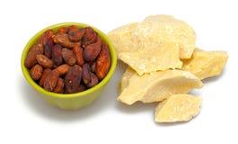 Cacaoboter en bonen Royalty-vrije Stock Afbeeldingen