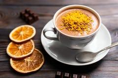 Cacaodrank met oranje schil royalty-vrije stock foto