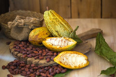 Cacaofruit, ruwe cacaobonen, Cacaopeul op houten achtergrond Stock Afbeelding