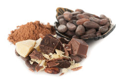 Cacaoolie (boter), cacaobonen, cacaopoeder en donkere chocolade Stock Foto