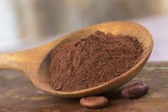 Cacaopoeder in een houten lepel wordt voorgesteld die Royalty-vrije Stock Afbeelding