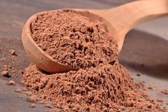 Cacaopoeder in een lepel Royalty-vrije Stock Foto's