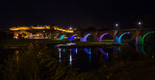 Cacassonne bridge at night. Photograph of Cacassonne bridge at night, France Stock Images