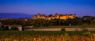 Cacassonne in the evening light. Photograph of Carcassonne in the evening light, France Stock Images