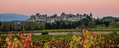Cacassonne in the morning light. Photograph of Carcassonne in the sunrise, France Stock Photos
