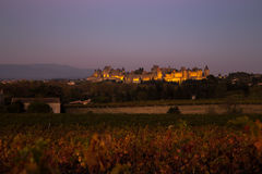Cacassonne in the night. Photograph of Carcassonne in the night, France Stock Image