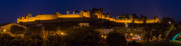 Cacassonne in the night. Photograph of Carcassonne in the night, France Stock Photos