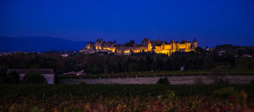 Cacassonne in the night. Photograph of Carcassonne in the night, France Stock Images