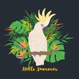 Cacatua sveglia del pappagallo su un fondo floreale illustrazione di stock