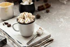 Cacau com leite condensado e pedaços de chocolate imagens de stock