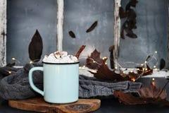 Cacau quente doce com marshmallows e casca de canela Fotos de Stock Royalty Free