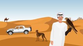 Caccia col falcone degli sceicchi arabi nel deserto fotografia stock
