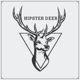Caccia dei cervi Etichetta d'annata di caccia Illustrazione di vettore Fotografie Stock