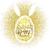 Caccia dell'uovo di Pasqua dell'iscrizione sulla siluetta bianca sul fondo di scintillio del coniglio o dell'uovo e dell'oro Cart Immagini Stock