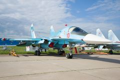 Cacciabombardiere multiuso russo Su-34 sullo show aereo MAKS-2017 Fotografie Stock Libere da Diritti