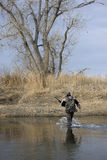 Cacciatore che attraversa un fiume fotografia stock
