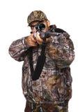 Cacciatore che mira un fucile Fotografie Stock Libere da Diritti