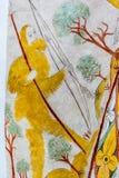 Cacciatore con l'arco e la freccia, un affresco medievale nel churc di Vinderslev Immagini Stock