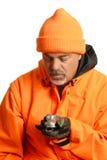 Cacciatore con la bussola fotografia stock libera da diritti