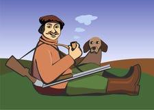 Cacciatore con un cane Fotografia Stock